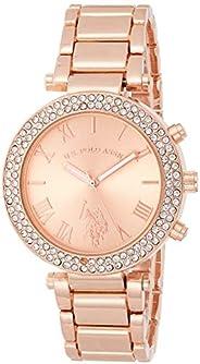 الولايات المتحدة الأمريكية بولو اسن ساعة USC40170 للنساء كوارتز رسمية باللون الذهبي الوردي