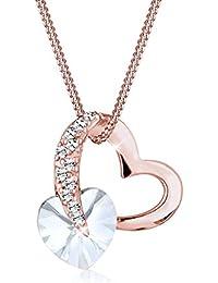 Elli Damen-Halskette mit Herz Anhänger und Swarovski Kristallen in 925 Sterlingsilber rosé vergoldet