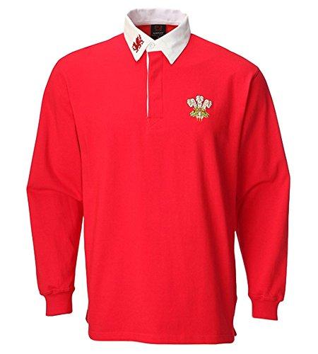 Traditionelle Rugby-shirts (Rugby-Shirt Wales, Unisex, Erwachsene, mit Kragen, langärmlig, S, M, L, XL, XXL, 3XL, 4XL, 5XL Gr. Large, rot / weiß)