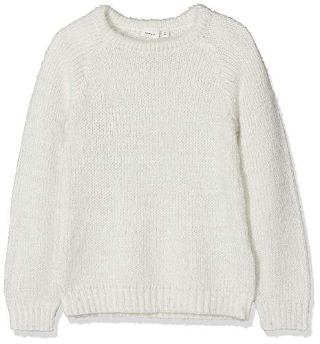 NAME IT Mädchen Nkflilba Ls Knit Pullover, Weiß (Snow White Snow White), 134 (Herstellergröße: 134-140)