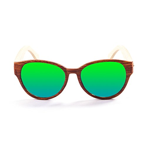OCEAN SUNGLASSES Cool Lunettes de soleil Bamboo Brown Frame/Wood Natural Arms/Revo Green Lens