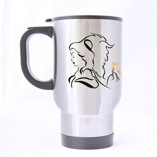 Artist Beauty the Beast Custom Personalized Silver Travel Mug Sports Bottle Coffee Mugs Office Home Cup 14 OZ Two Sides Printed by Custom Mugs