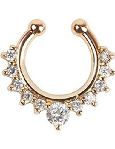 Fake Nasenring Hoop Ring Fake Septum Clicker mit filigranem transparenten Kristallsteinen Material: Brass| Farbe: Roségold innen durchmesser 8mm (Valentinstag Zunge Ringe)