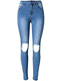 144e9f5262fa41 SMITHROAD Damen Skinny Stretch Jeanshose mit Löchern über Knie Röhrenjeans  Used-Look Five-Pocket-Style Blau…