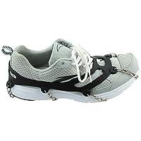 KaLaiXing marca 10denti Claws ramponi antiscivolo scarpe, in acciaio inox catena Outdoor Sci Ghiaccio Neve Escursioni Arrampicata, colore: nero