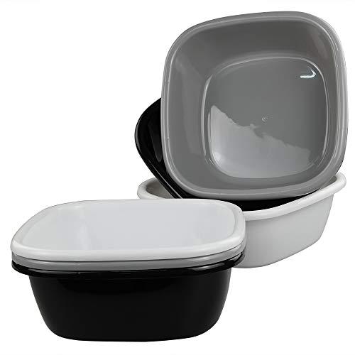 Qshape Square Spülbecken Becken, 6er Pack (2 Schwarz, 2 Weiß, 2 Grau)
