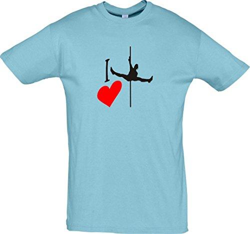 Männer Kostüm Jubel - Krokodil T-Shirt I love Poledance Stangentanz Akrobatik Erotik Farbe Hellblau, Größe M