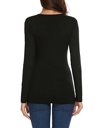 Beyove Damen Spitze shirt Langarmshirt Spitzenshirt Top Bluse Shirt Tunika Hemdl mit Rüschen Schwarz