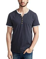 ESPRIT - T-Shirt Homme - 2in1 Melange Henley - Slim Fit