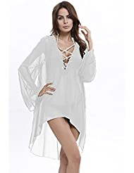 qxj Mini Vestido Cuello en V gasa suelto un Ladies Fashion, Color blanco,
