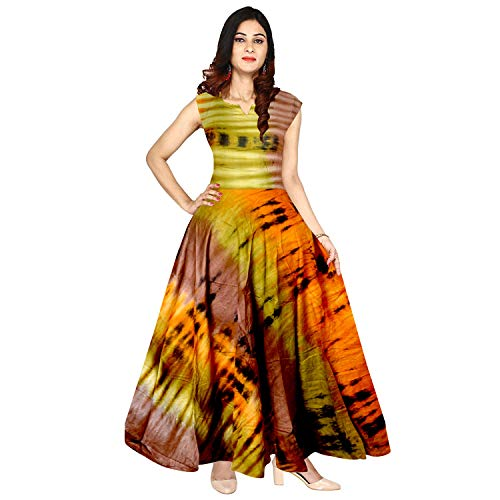 JWF Women\'s Long Dress Jaipuri Fashion Print Rayon Dress (MultiCour, Up to XXL)