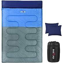 IREGRO Doble Saco de Dormir con 2 Almohadas 3.2 KG Super Caliente 190T Impermeable Poliester 2