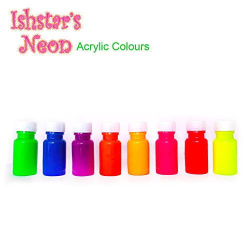 Ishstar Neon Acrylic Paint Kit - Assorted Neon Acrylic Set For Painting Canvas, Clay, Fabric, Nail Art, Ceramic & Crafts Great For Kids & Adults - 8 Pack Starter Kit (20Ml Each) Uv Active Blacklight Reactive Sensory Art And Wall Painting
