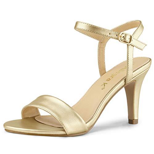Allegra K Damen Peep Toe Stiletto Slingback High Heels Sandalen Gold 44 EU -