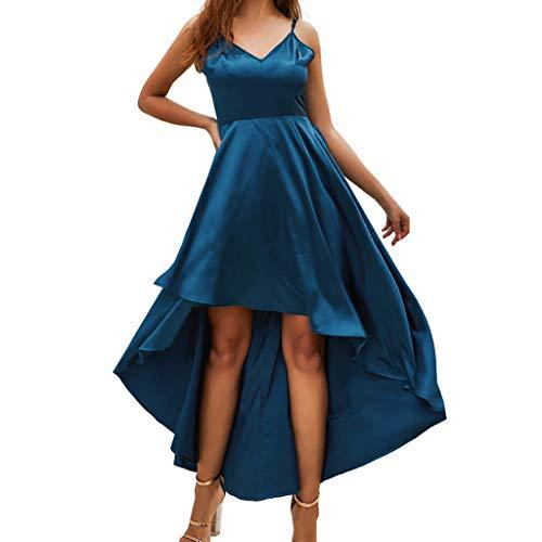 Pingtr - Damen Unregelmäßiges Kleid mit V-Ausschnitt - Frauen V-Ausschnitt Camiso Lrregularity Kleid Pure Color Knielangen Rock