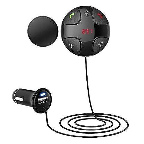 Eximtrade Auto Voiture Magnétique Bluetooth Transmetteur FM Mains Libres MP3 avec Chargeur USB Port 5V/2A pour Apple iPhone 4/4s/5/5s/6/6s/6 Plus/6s Plus, Samsung Galaxy S4/S5/S6/S6 Edge/S6 Edge Plus/S7 Edge/Note 3/Note 4/Note 5, HTC One, Motorola, Sony Xperia, autre