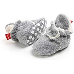 Botas de Niño Calcetín Invierno Soft Sole Crib Raya de Caliente Boots de Algodón para Bebés (6-12 Meses, Gris)
