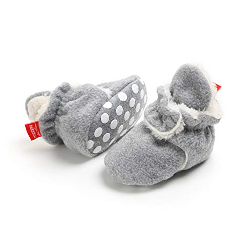 EDOTON Unisex Neugeborenes Schneestiefel Weiche Sohlen Streifen Bootie Kleinkind Stiefel Niedlich Stiefel Socke Einstellbar (6-12 Monate, Grau)