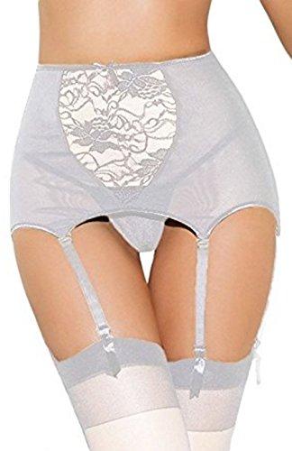 Lannorn Damen Reizvolles Offene Plus Gr▒▒e Spitze Elegantem Strapsg▒rtel Und Slip, Farbe weiß, Size 3XL