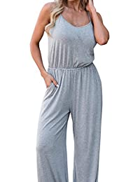 94c4e5967125 Jamicy Women Ladies Summer Casual Strapless Sleeveless Solid Jumpsuit Pants