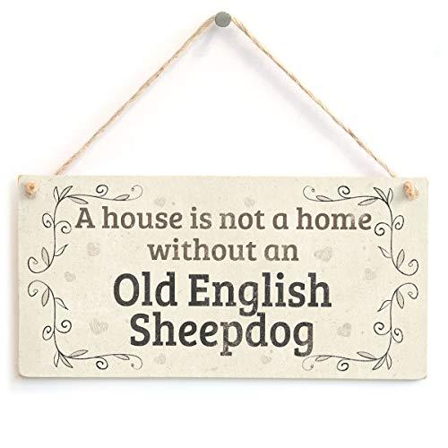 RABEAN Old English Sheepdog Holzschild hölzerne Wandtafel Exquisite Palette hängende Kunst Zuhause Tür Dekoration Badezimmer Bar Cafe Schlafzimmer Hotel Dekor