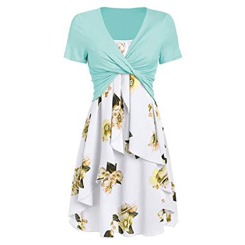 (Cooljun Women's Short Sleeve Front Criss Cross V-Ausschnitt Tops Frauen Sexy Spaghetti Strap Blumendruck Mini Casual Dress Anzüge)