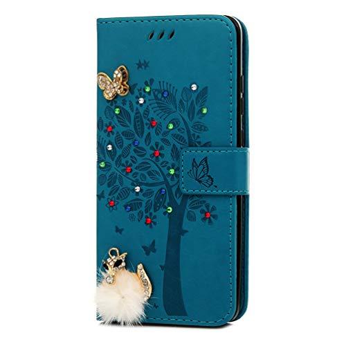 Hülle für Huawei Mate 20, Geprägte Schnalle vorne Strass Leder Handyhülle Klappbares Brieftasche Schutzhülle Wallet Case Cover mit Integrierten Kartensteckplätzen Blauer Diamant Weißhaariger Fuchs -