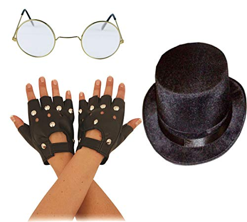 Islander Fashions Herren 80er Jahre Slush Mad Biker Rocker Set Black Biker Handschuhe Brille Topper Hat Set One Size