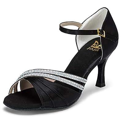 JIA JIA 20524 Damen Sandalen Ausgestelltes Heel Super-Satin mit Strass Latein Tanzschuhe Schwarz, 35