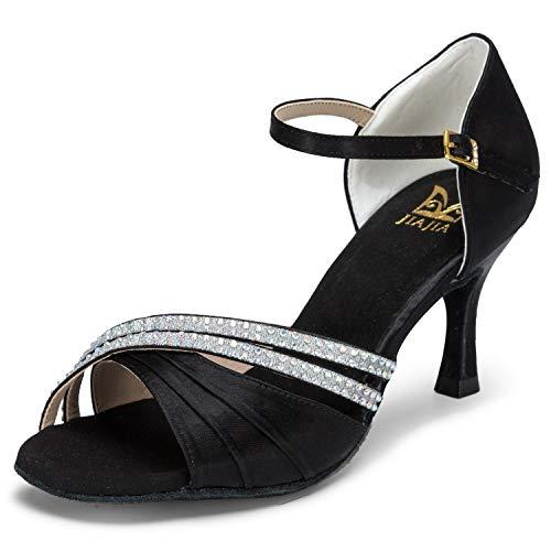 JIA JIA 20524 Damen Sandalen Ausgestelltes Heel Super-Satin mit Strass Latein Tanzschuhe Schwarz, 40