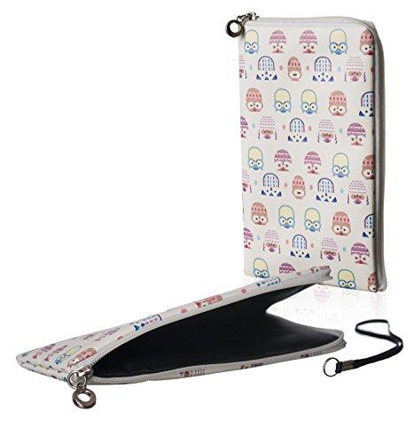 Housse de transport souple et fine avec fermeture Éclair Blanc à motif chouettes Convient pour téléphone portable Huawei Y6 Dual Sim