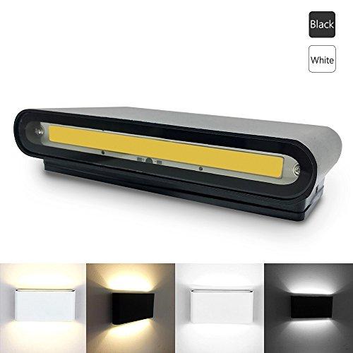 Lwyjrbd applique/lampada da parete/decorazione domestica 12w lampada da parete a led impermeabile verso il basso luci a parete a doppio faro in metallo a portico per corridoio balcone, bianco caldo nero