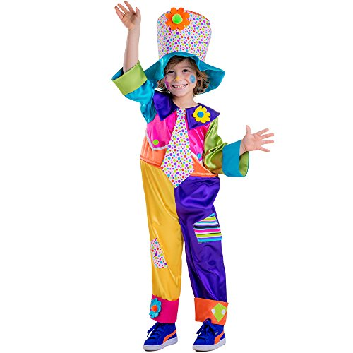 DRESS UP AMERICA - DISFRAZ DE PAYASO DE CIRCO  PARA NIñOS  MULTICOLOR  TALLA S  4-6 AñOS (851-S)
