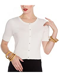 Hell Bunny Ladies 50s Wendi Plain Short Sleeved Cardigan Top Ivory All Sizes