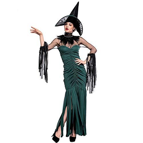 Kostüm Lustige Plus Größe - BGFDSV Erwachsene Frauen Halloween Hexe Kostüm Damen Phantasie Quaste Kleid Cosplay Lustige Outfit S-XL Für Mädchen Plus Größe, L