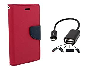 Samsung Galaxy Grand Quattro GT8552 Flip Cover By Online Street (PINK + OTG CABLE)