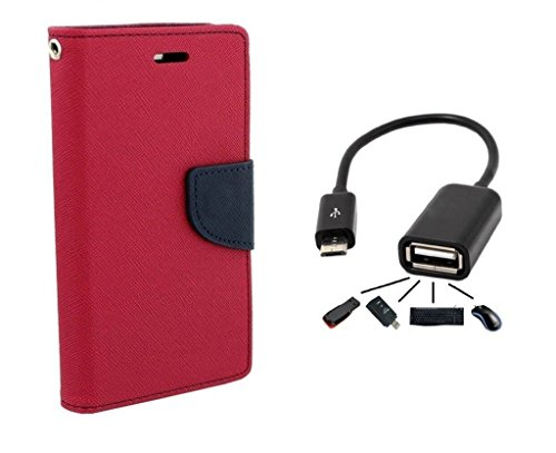 Xiaomi Redmi Note 4G Flip Cover By Online Street (PINK + OTG CABLE)  available at amazon for Rs.189