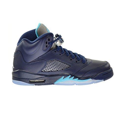 Air 5 Retro BG Big Kids Chaussures Midnight Marine / Turquoise Bleu-Blanc 440888-405 (3,5 M US)
