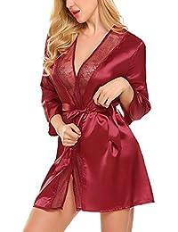 Avidlove Camisones Mujer Sexy Batas y Kimono con Cinturón Pijama Satén Mujer Encaje Elegante