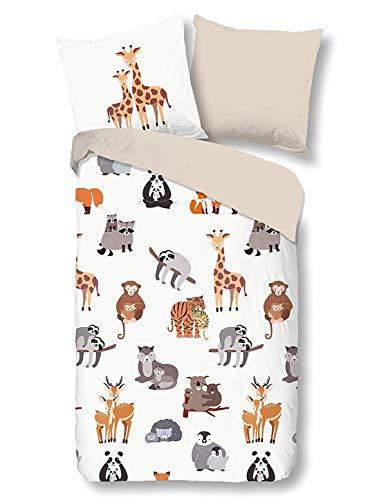 Aminata Kids - Kinder-Wende-Bettwäsche-Set Zoo-Tiere-Motiv Safari 135-x-200-cm Jungen, Mädchen & Jugendliche - Baumwolle - beige, bunt - weich & kuschelig, Marken-Reißverschluss & Öko-Tex