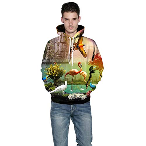 TDPYT 3D Hoodies Frauen/Männer 3D Sweatshirts Druck Vogel Schöne Landschaft Flamingo Dünne Mit Kapuze Hoodies-J S -