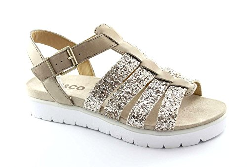 Igi&Co Chaussures Sandales Glitter Esclave Bracelet cuirS 58034 Beaver Femmes Beige