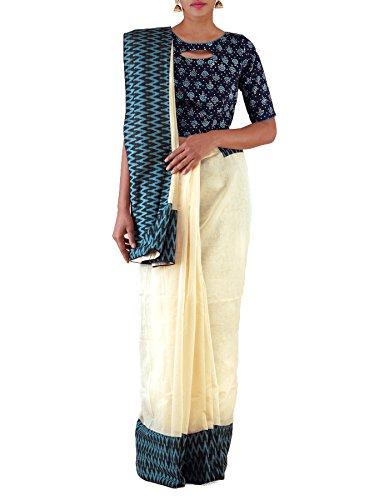 Unnati Silks Women Cream Banarasi Supernet Ikat border Saree(UNM22765)