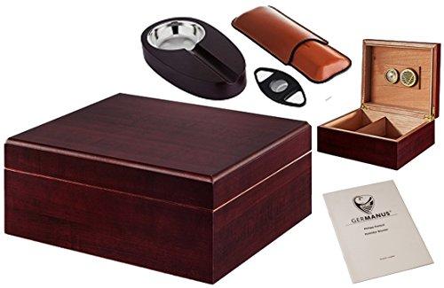 GERMANUS Zigarren Humidor Set mit Cutter, Zigarrenetui und Ascher in Braun