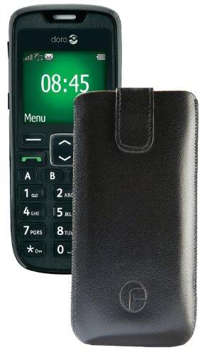 Original Favory Etui Tasche für / Doro PhoneEasy 508 / Leder Etui Handytasche Ledertasche Schutzhülle Case Hülle Lasche mit Rückzugfunktion* in Schwarz