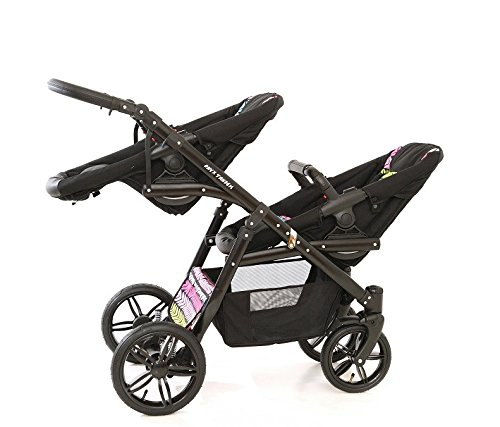Double pram for twins. 2 carrycots + 2 buggies + 2 car seats. Multicolour. BBtwin Berber Carlo Directly from the factory, warranty and advice. Made un the EU according to the regulations EN1888 and ECE44/04. Multicolour. Includes 2 carrycots, 2 buggy seats, 2 car seats, bag, 2 footcovers, 2 rain covers, 2 mosquito nets, lower basket. Features: lightweight aluminium frame, easy bending, adjustable handlebar, central brake, lockable front swivel wheels, shock absorbers, each buggy can be instaled independently in both directions, carrycots with a mattress and a washable cover, backrest adjustable in various positions, safety bar and harness of 5 points 6