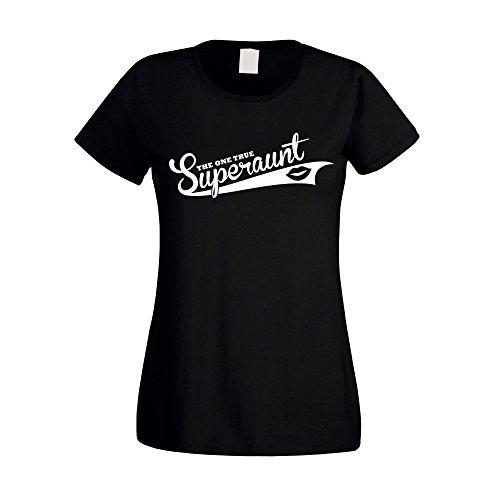 Damen T-Shirt - The one true Superaunt - von SHIRT DEPARTMENT schwarz-weiss
