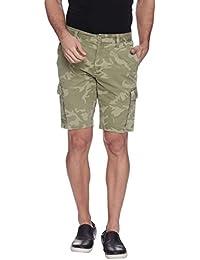 Blue Wave 100% Cotton Camo Printed Cargo Shorts For Men
