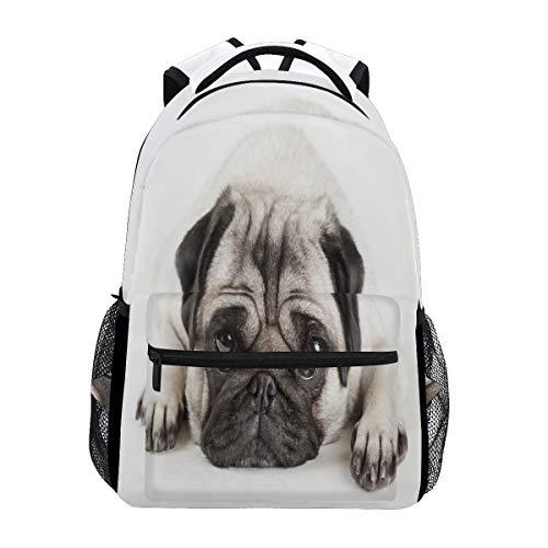 Sad Mops-Rucksack für Hunde, wasserdicht, Schulranzen, Turnbeutel, Tiere, Welpen, Laptop-Tasche, Outdoor-Reisetasche für Kinder, Jungen, Mädchen, Damen, Herren -