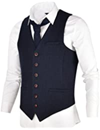 VOBOOM Men s Herringbone Wool Tweed Waistcoats Vests in Coffee 2bbb023764c